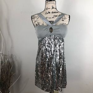BEBE MINI SEQUIN SILVER DRESS SIZE S
